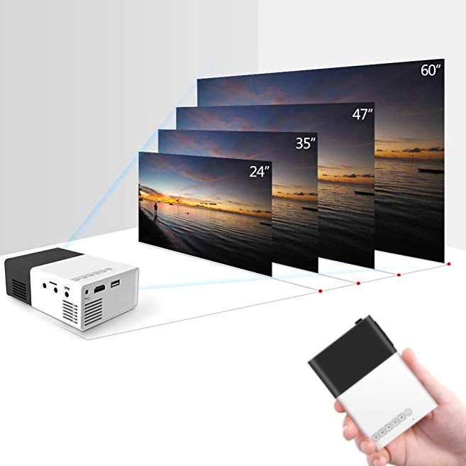 Portable LED projector - For computer, mobile phone, chromecast